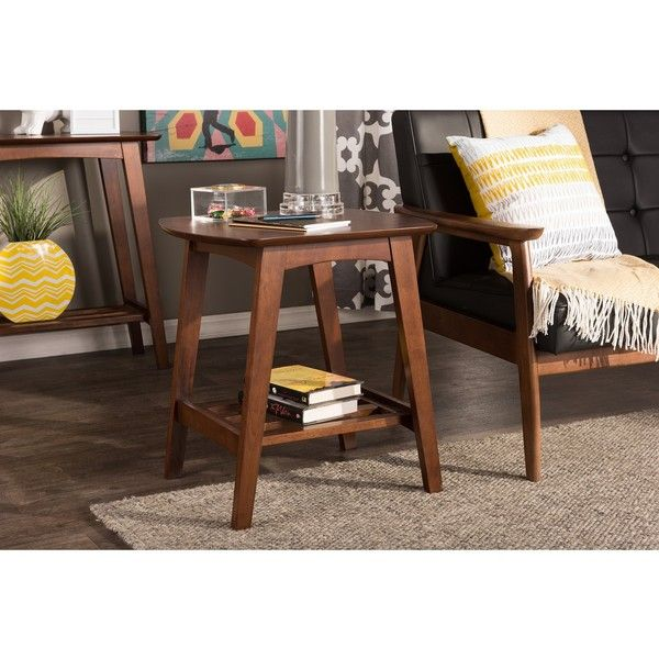 Baxton Studio Sacramento Mid Century Modern Scandinavian Style Dark Walnut End Table End Tables Sofa End Tables Wood End Tables