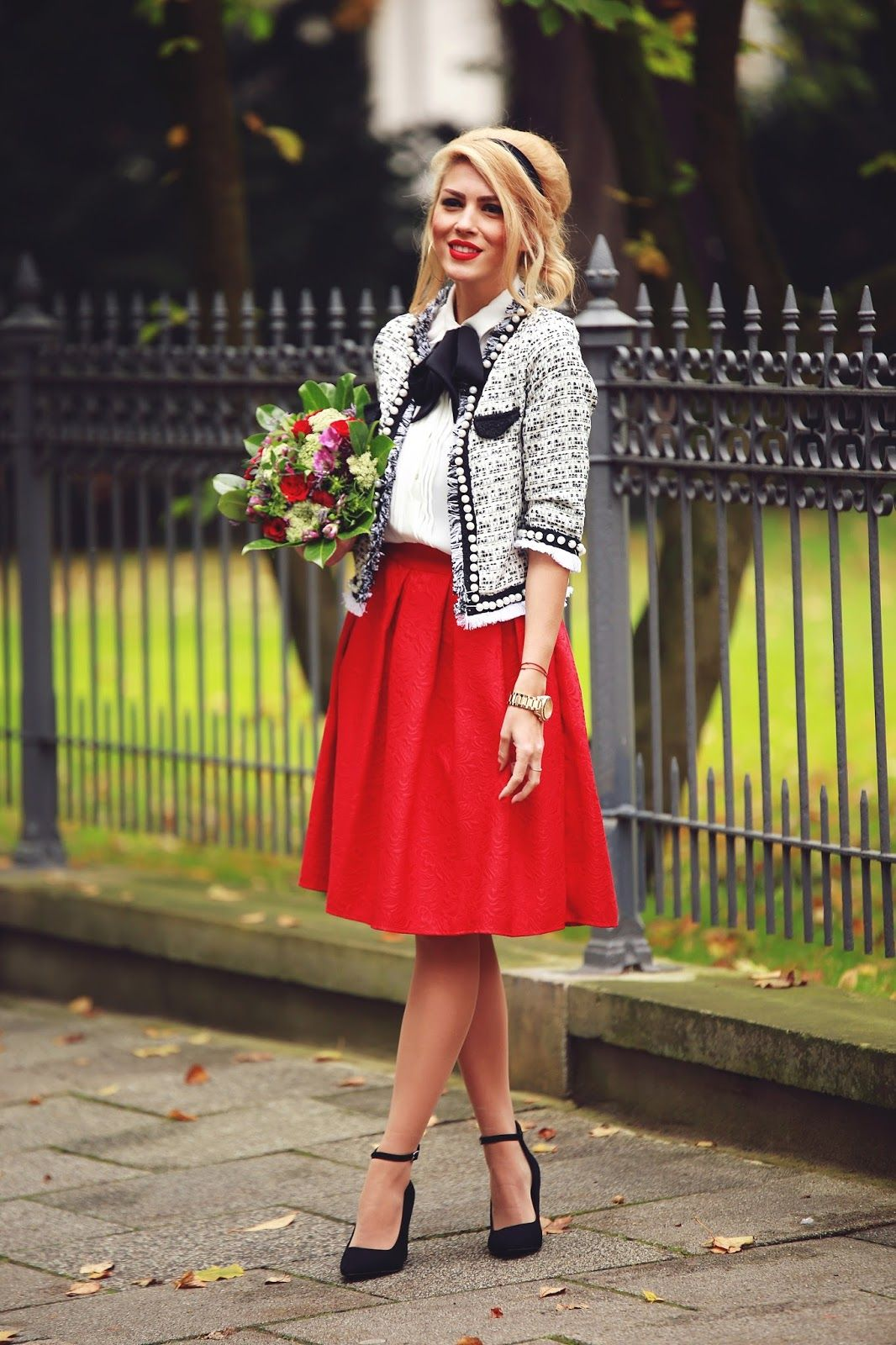 Jacket Red Midi Skirt Black Heels @roressclothes Closet Ideas #women Fashion Outfit #clothing ...
