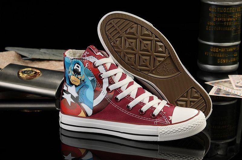 cebdaf17131c  converse Converse Captain America Wine Red High Tops Superhero Womens Shoes