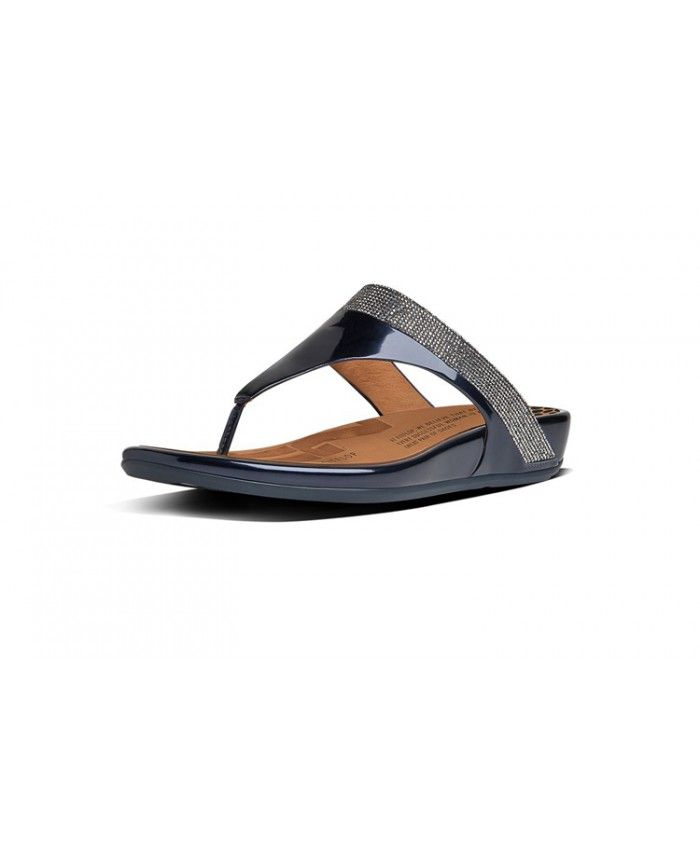 4f9ba12f6 Fitflop Women Banda Micro Crystal Toe Post Leather Dark Blue Sale ...