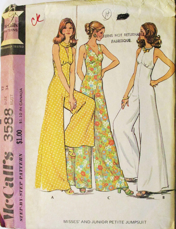 1970s Vintage Sewing Pattern McCalls 3588 Misses Jumpsuit Pattern ...