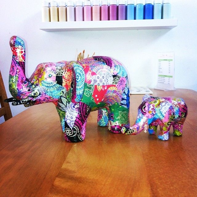 Decopatch elephant ornaments decoupage elefantes