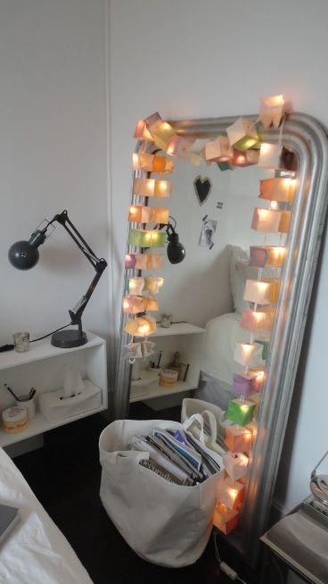Miroir ancien, chambre parents, guirlande lumineuse TSE TSE ...