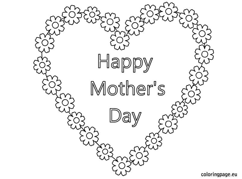 Happy Mothers Day Heart Flowers Coloring PagesFlower