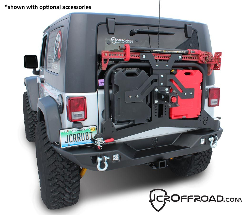 Nice Swinging Tire Carrier Holds The Jerry Cans Hi Lift Jack And Tire Jcroffroad Adventure Rear Bumper Tire Carr Jeep Gear Jeep Bumpers Jeep Wrangler Tires