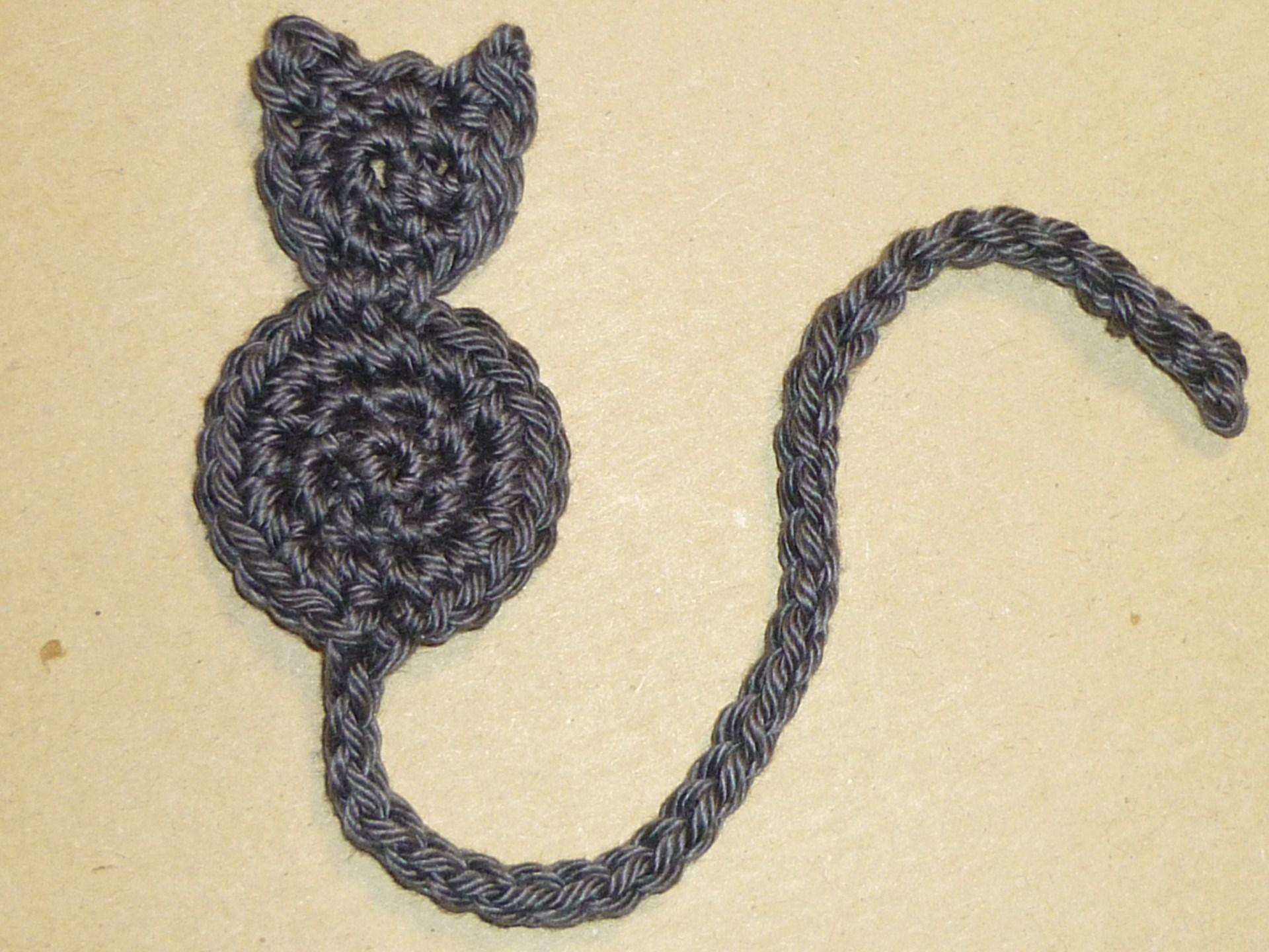 Marque page original - Chat gris crocheté en coton | Chats-Cats ...