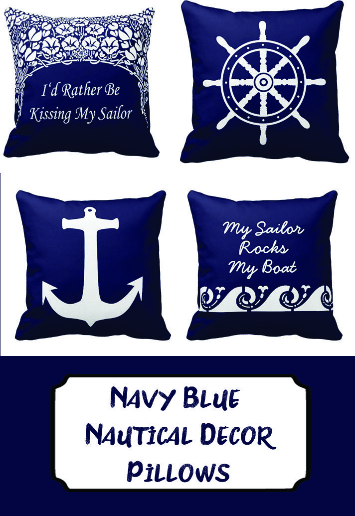 These Throwpillows Will Make Great Gifts For Navy Wives Or Friends Blue Nautical Decor Pillows