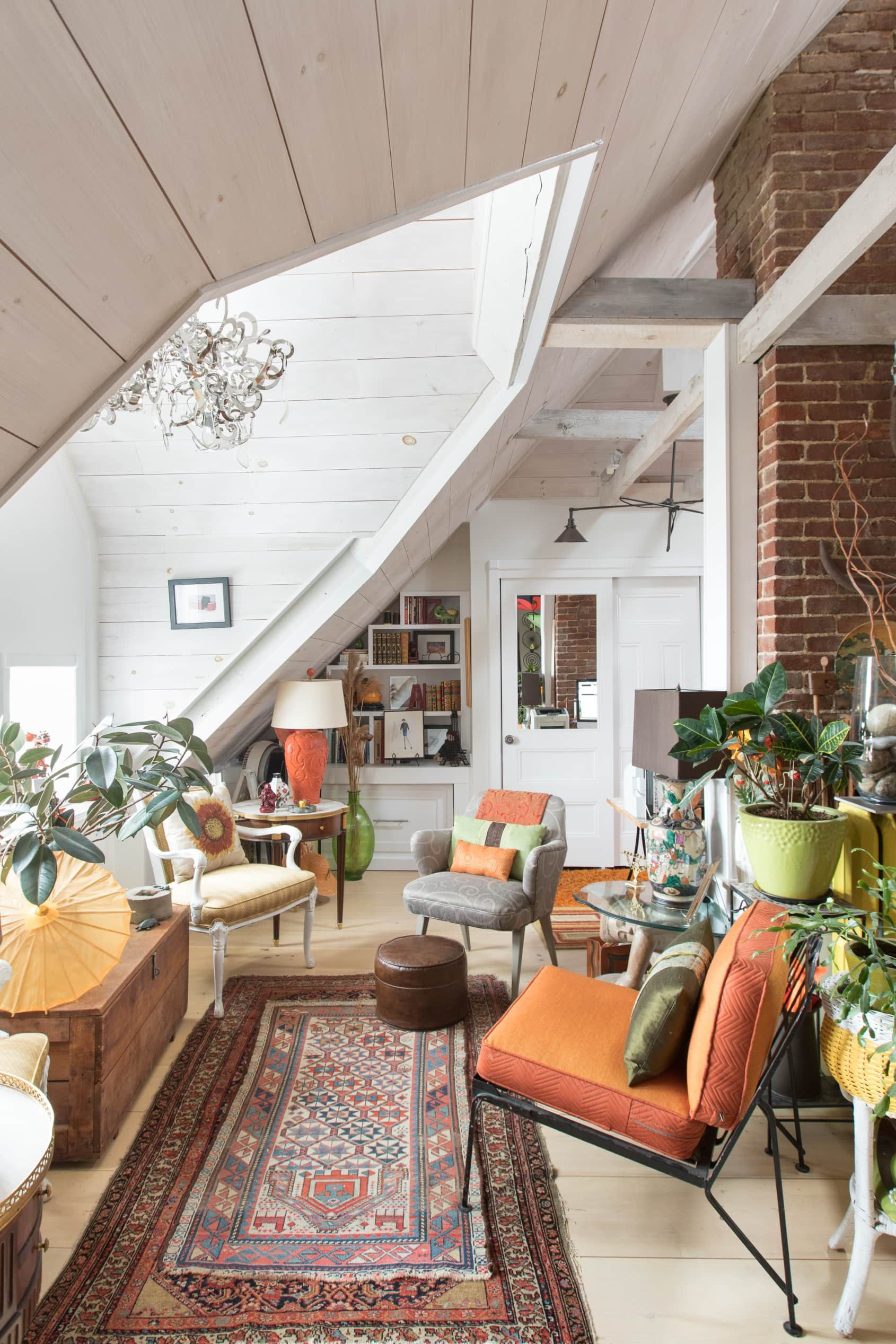 """A """"Crap Whisperer's"""" Colorful, Converted Attic in Concord"""