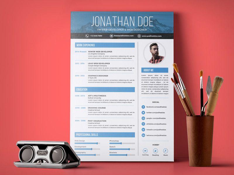 Free Simple Resume Design Template For Web \ Graphic Designer PSD - resume design