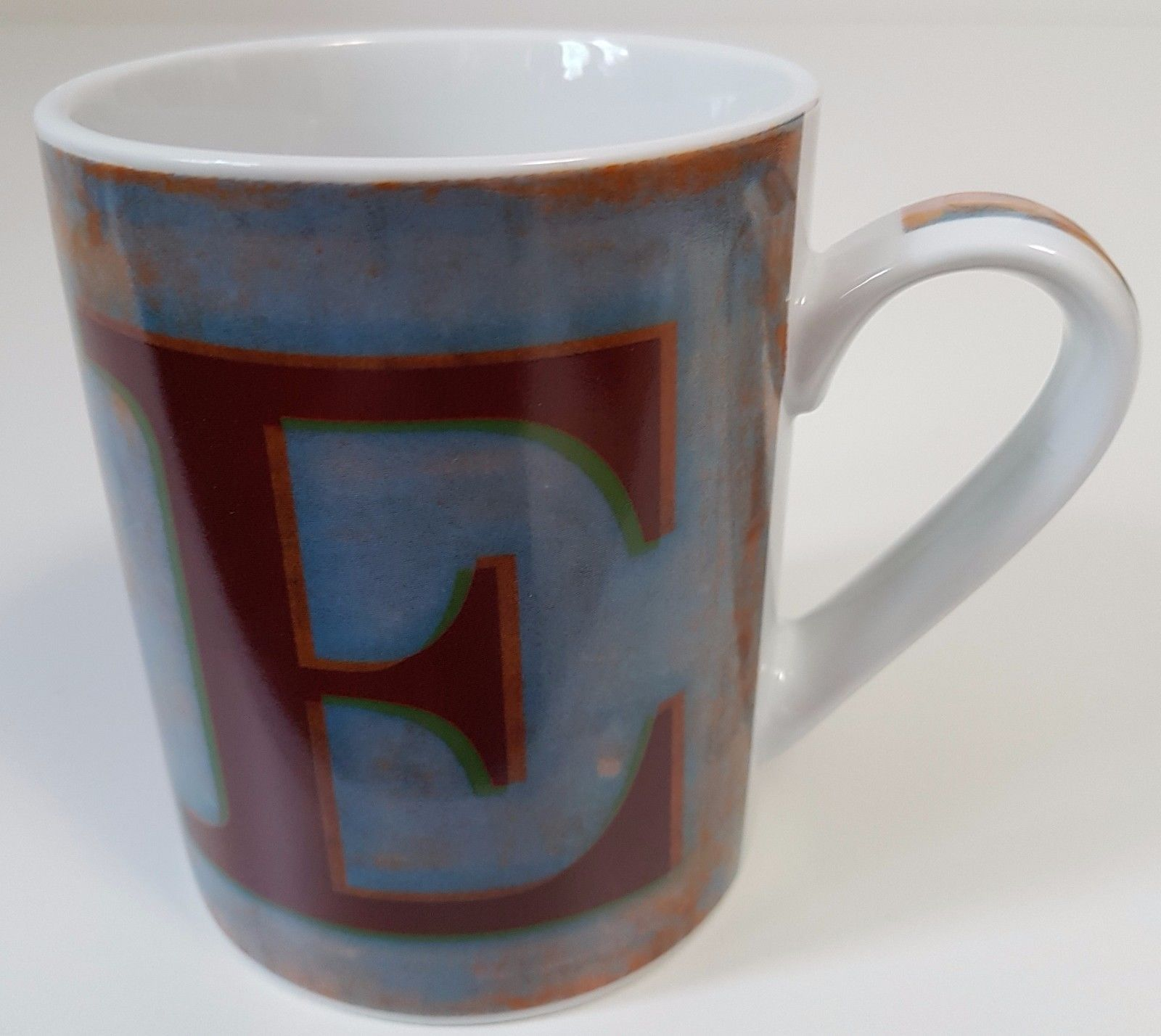 Pier 1 Imports Rustic Rusty Distressed Letter E Coffee Mug Mugs Decorative Accessories Christmas Items
