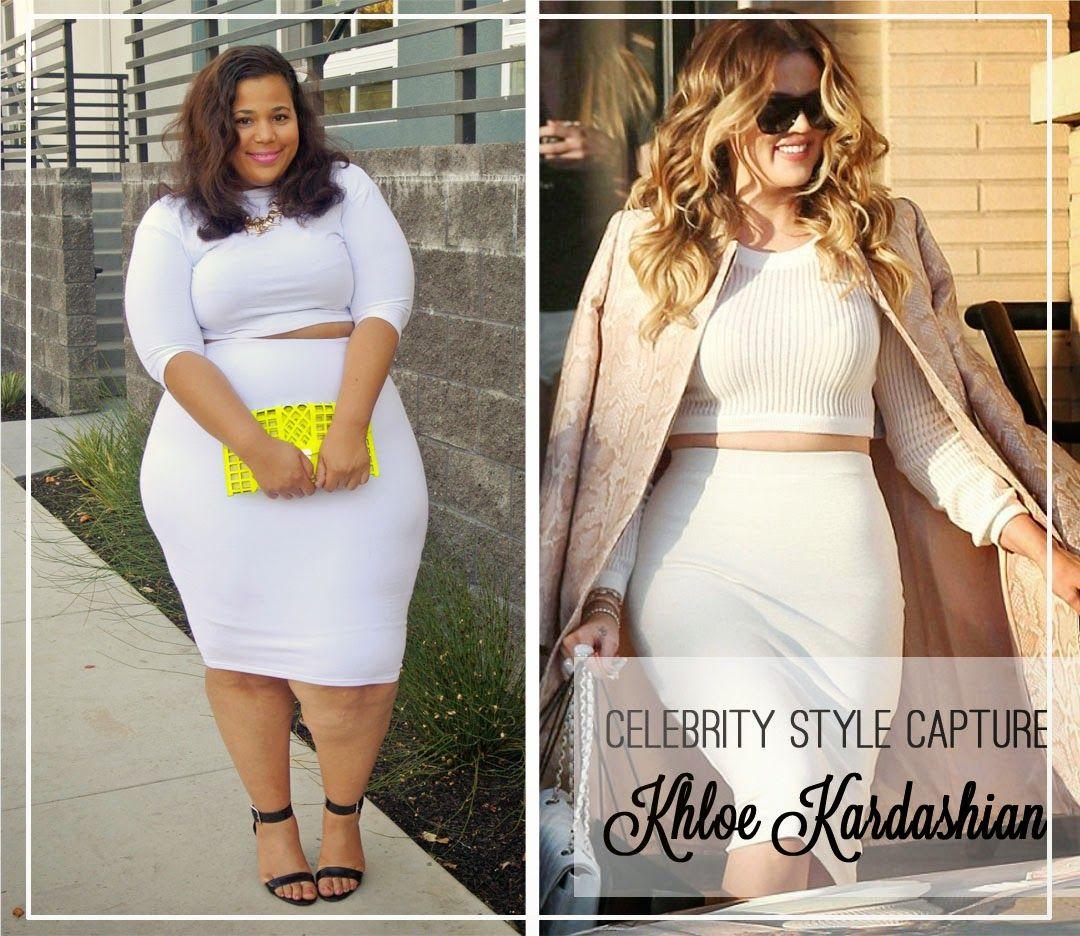 Khloe Kardashian style, plus size crop top and skirt set ...