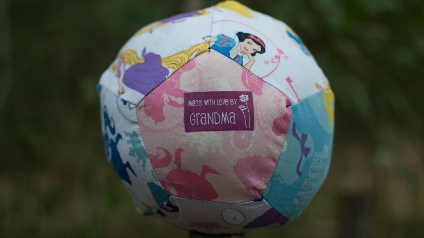 Pentagon Disney Ball I made for Granddaughters First Birthday using tutorial by Rob Appel on Man Sewing.
