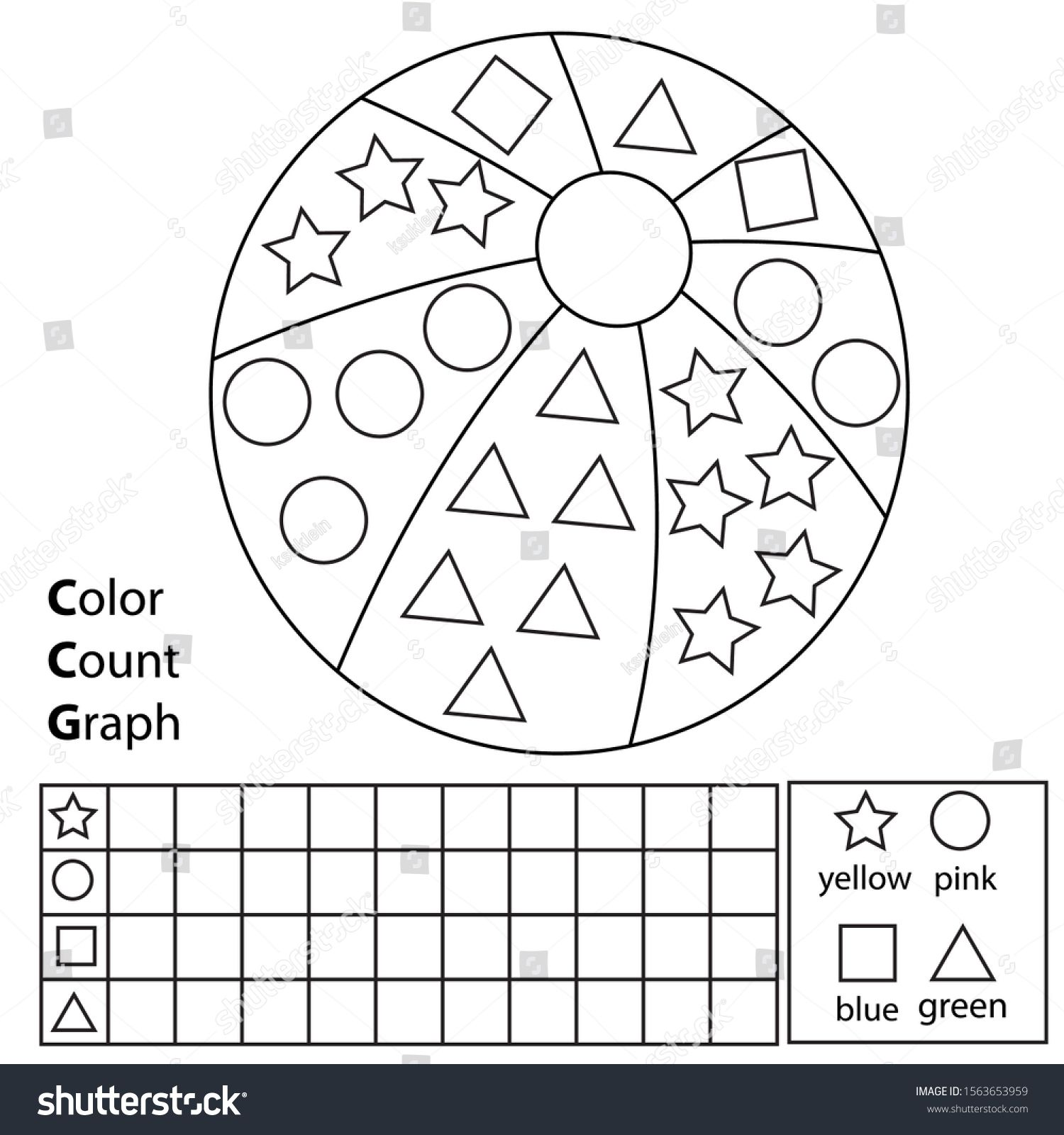 Color Count And Graph Educational Children Game Color Ball And Counting Shapes Printa Shapes Worksheets Kids Worksheets Printables Preschool Coloring Pages
