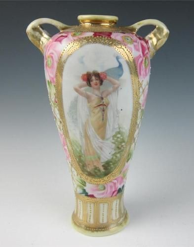 Antique Nippon Vase W Lady Peacock Gold Roses Hand Painted Portrait