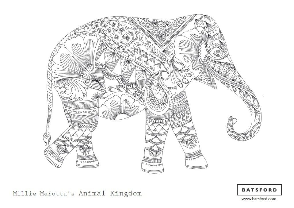 free zentangle elephant coloring pages - photo#6