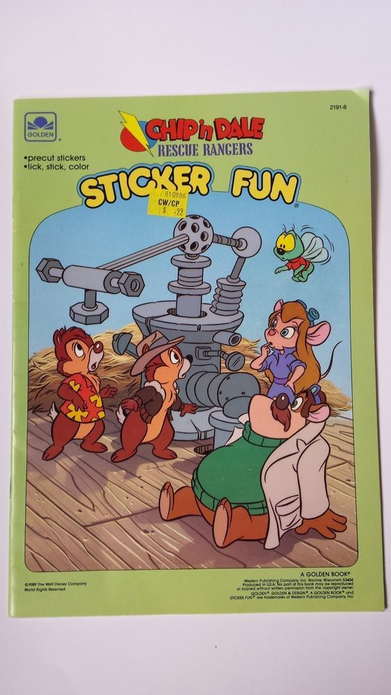 Chip n dale rescue rangers sticker fun coloring book 1989 golden
