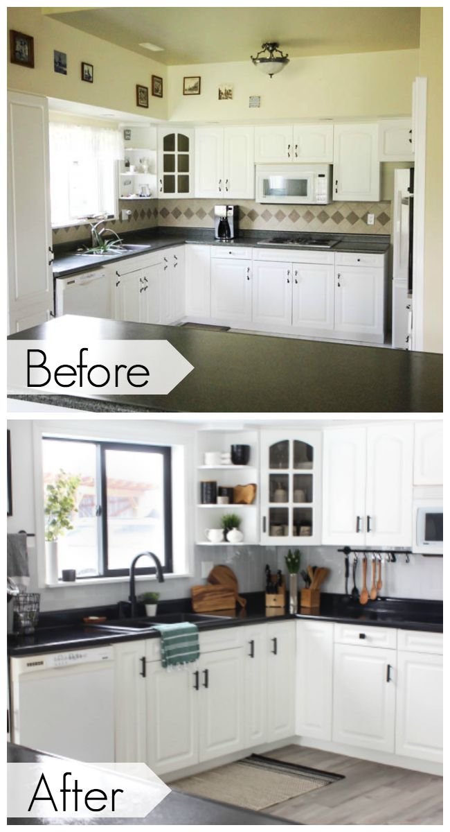 Rustoleum Countertop Transformation Paint Review One Year Later Cheap Kitchen Cabinets Black Countertops New Kitchen Cabinets