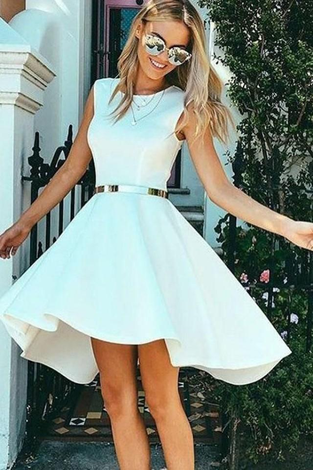 Hot Sale Colorful Prom Dresses 2018 High Low Bateau Sleeveless White Satin Homecoming Dress
