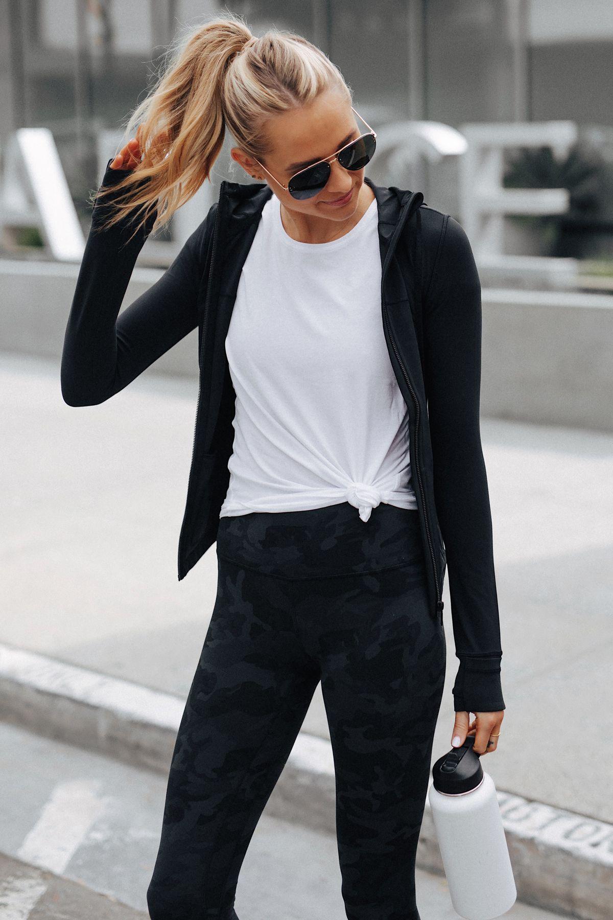 Fashion Jackson Wearing Lululemon Align Pants Black Camo Print Lululemon Black Jacket White Top Outfits With Leggings Lululemon Outfits Sporty Outfits