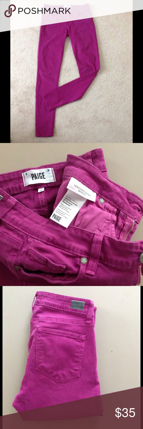 "Paige Verdugo Ultra Skinny Paige Stretchy skinny in a magenta color. Pic 4 shown for fit. Size 27 inseam 30"" Paige Pants"