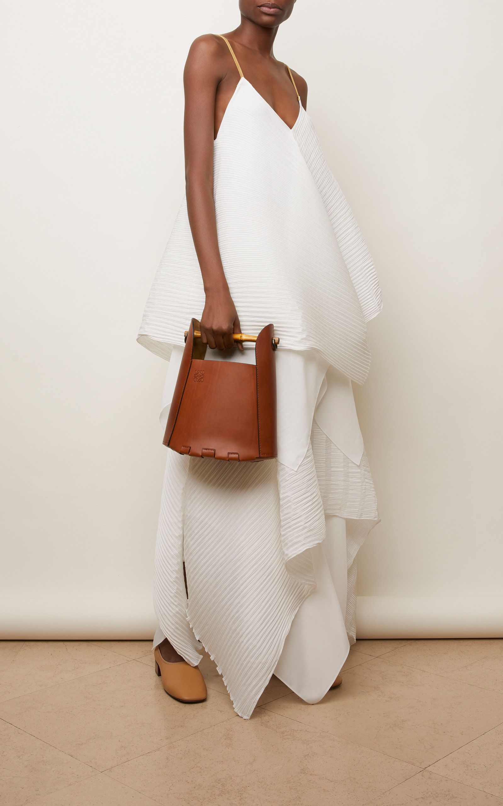 Bamboo Leather Bucket Top Handle Bag In