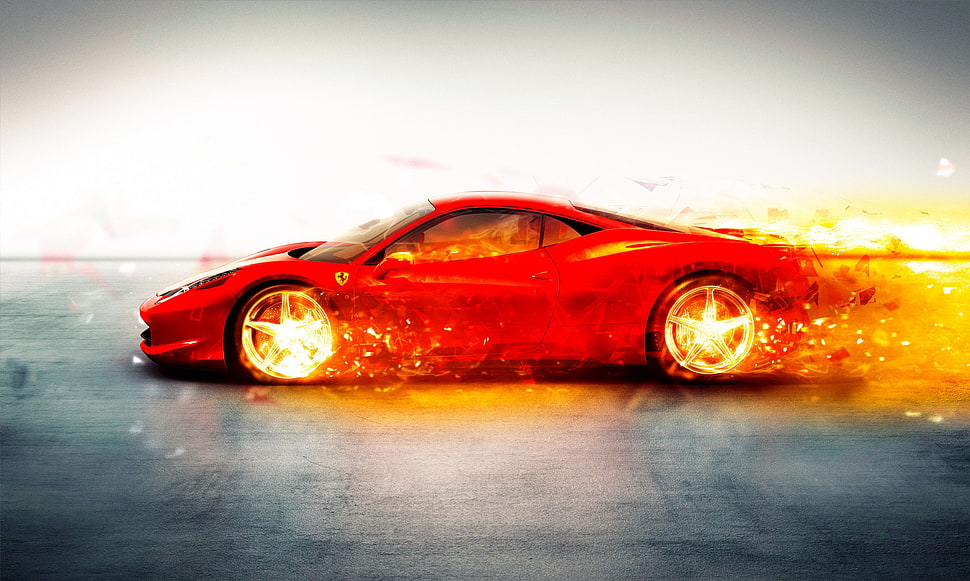 Red Super Car Wallpaper Ferrari Car Fire Digital Art Hd Wallpaper Wallpaper Flare In 2020 Super Cars Car Wallpapers Car