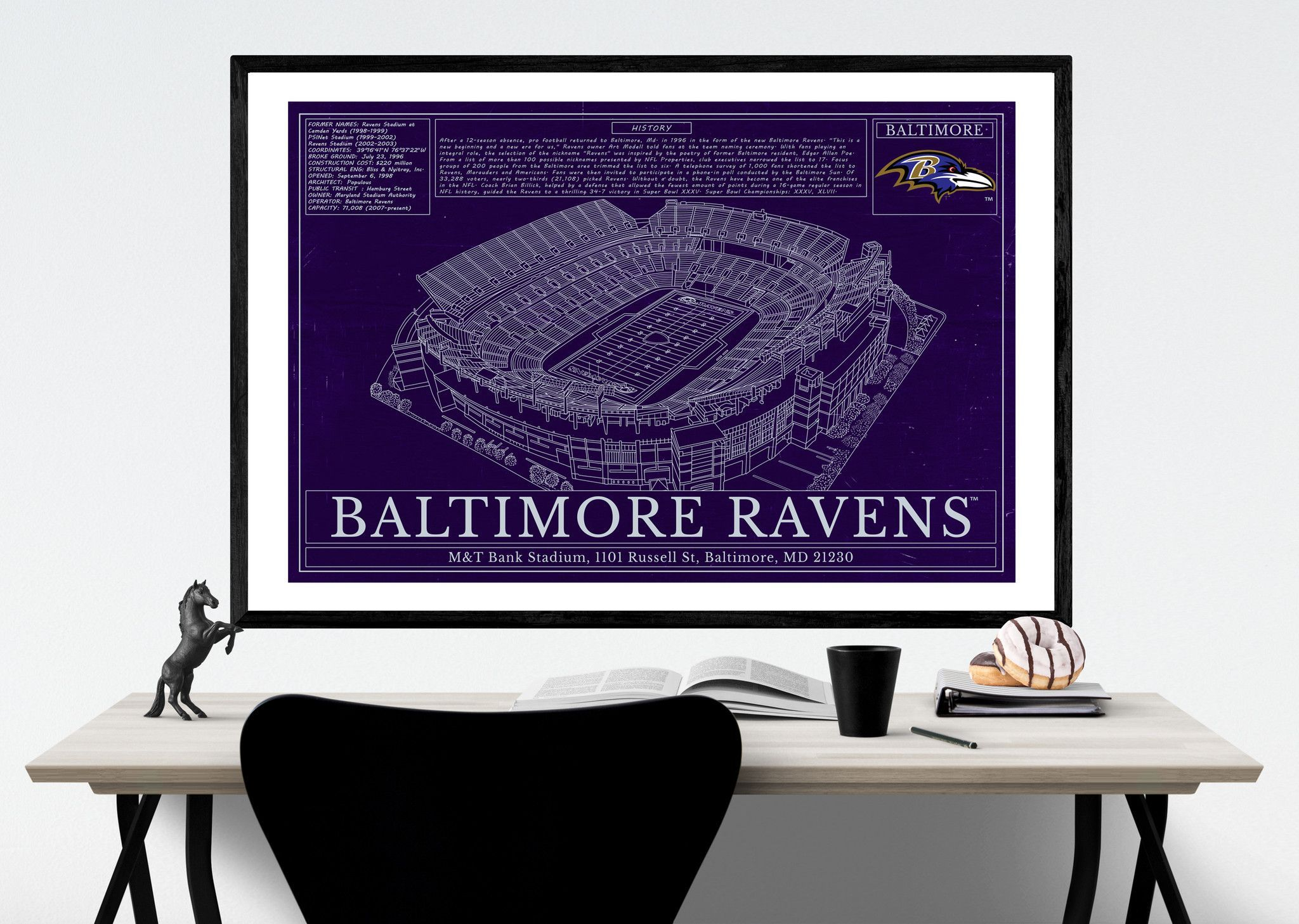 Unique NFL Football Stadium Blueprints Art Gift Wall art - Baltimore ...