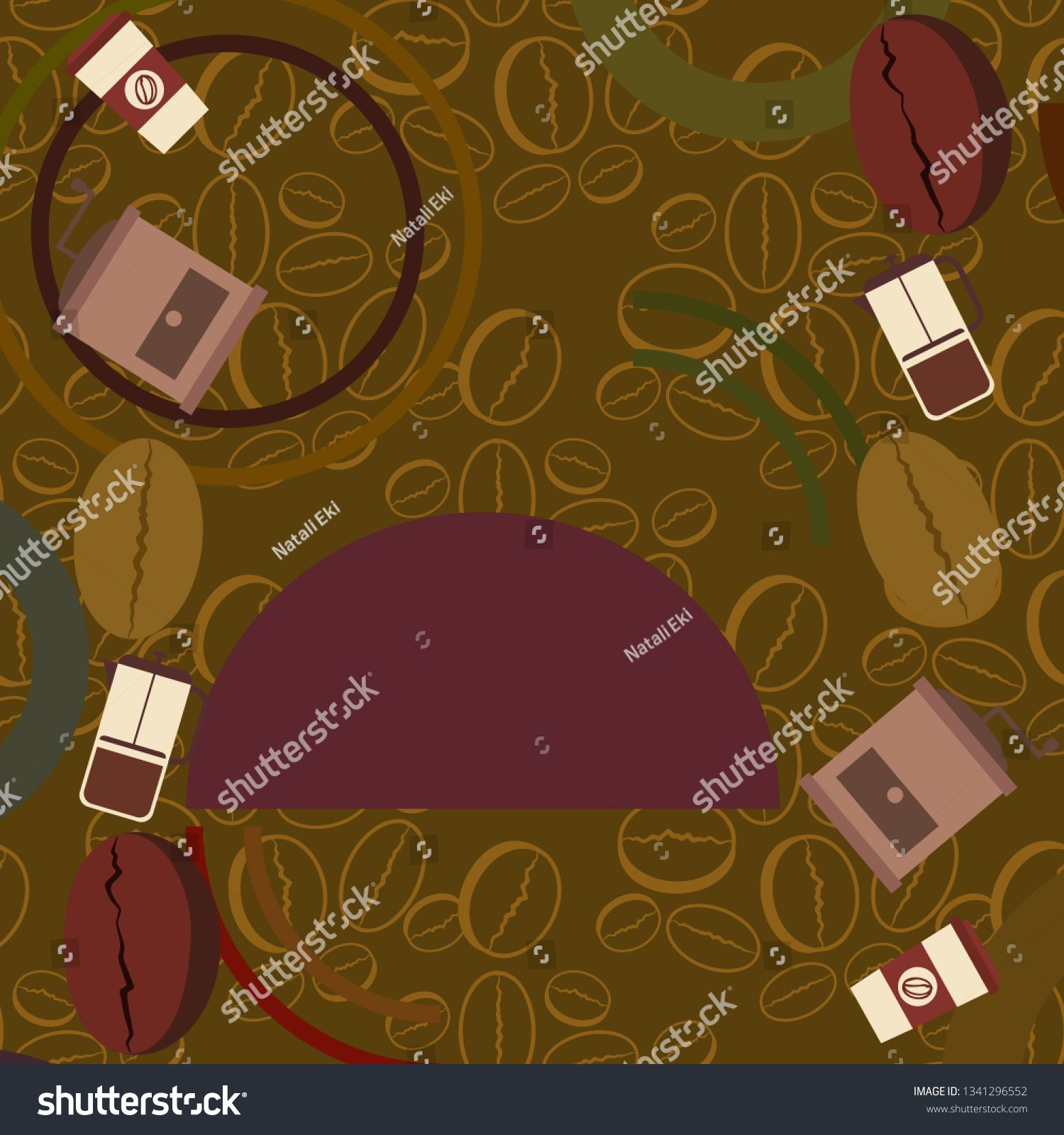 French press coffee, coffee beans, spilled coffee, vector