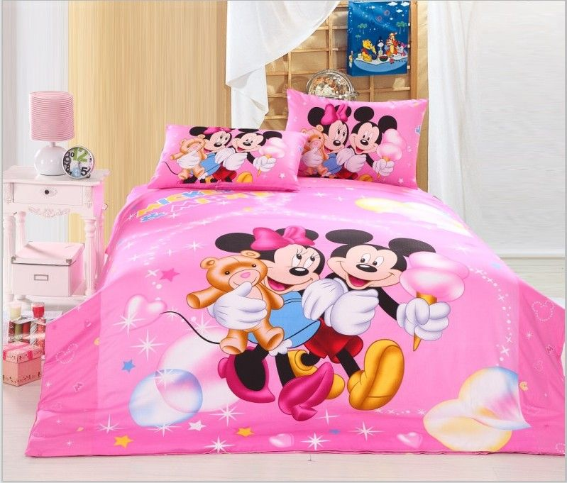 Sweet Pink Mickey And Minnie Mouse Character Print Bedding Sets