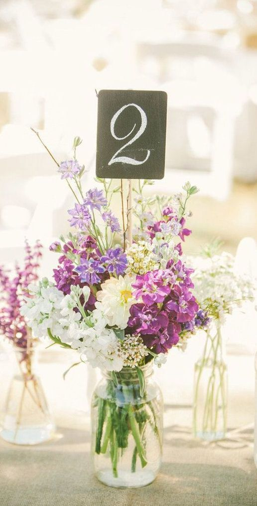Diy Fl Wedding Table Number Centerpiece More