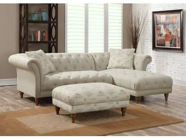 The Kimberly upholstered living room collection features transitional sectional styling, beautifully detailed nail-head trimming and deep luxurious seating.
