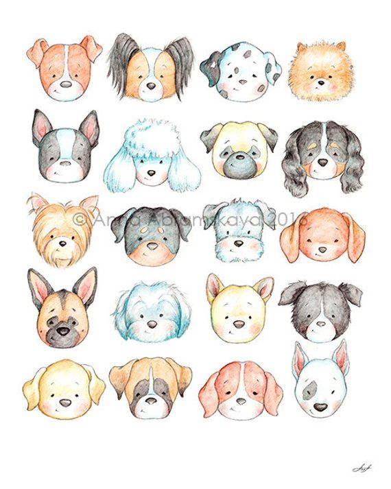 Instant Download - Puppies Heads Poster and Seamless Pattern - Printable - Dog Breeds Poster - Nursery Decor - Dogs Heads Pattern