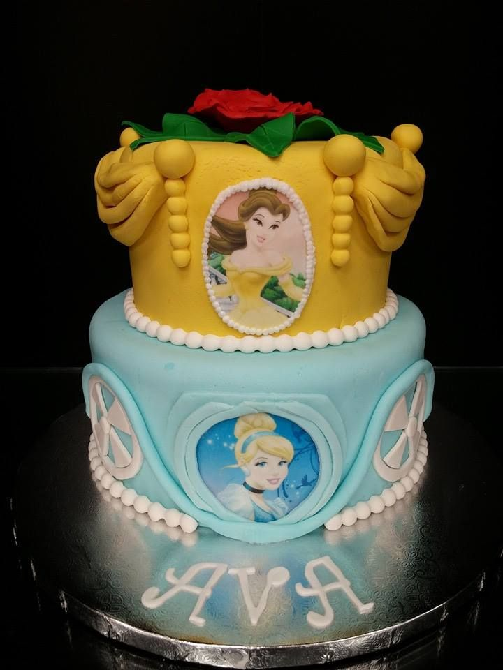 Princess Bella and Cinderella Cake Character Cakes Pinterest