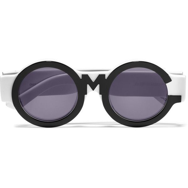 House of Holland Round-frame two-tone acetate sunglasses ($69) ❤ liked on Polyvore featuring accessories, eyewear, sunglasses, black, two tone lens sunglasses, round frame sunglasses, round sunglasses, two tone glasses and uv protection sunglasses