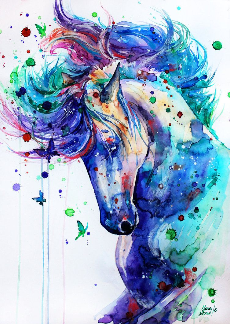 Watercolor Horse Painting Art Paint Blue Purple Pink Green