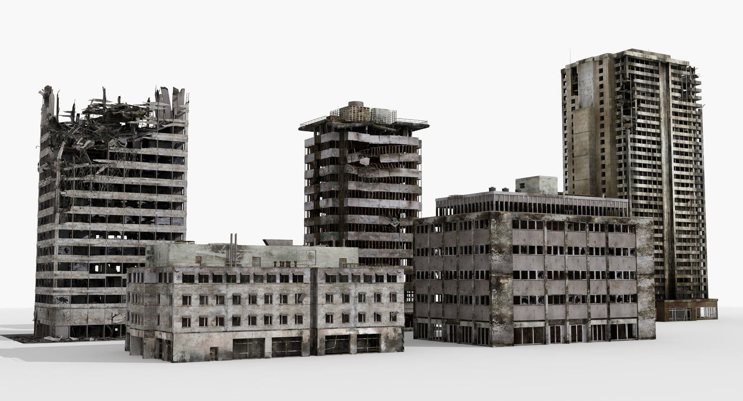 3d Destroyed Buildings 5 Ruined Model Building Post Apocalyptic City Ruined City