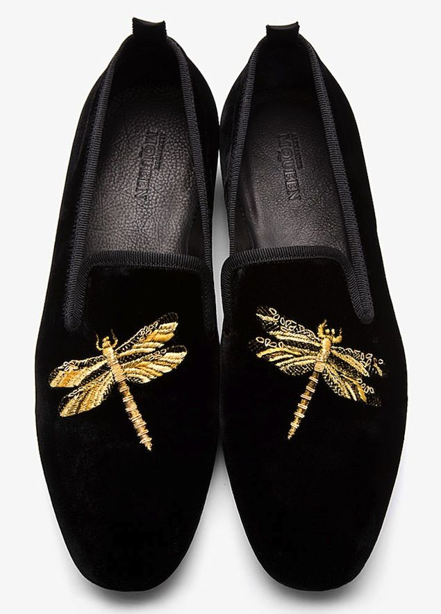 3c7f8c216 Shoes of the Day: Alexander McQueen Dragonfly Black Velvet Loafers |  UpscaleHype