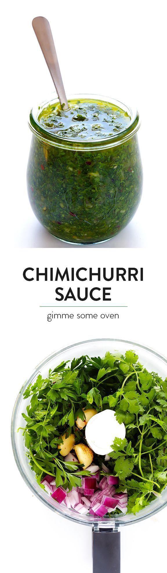 This homemade Chimichurri Sauce recipe is super easy to make in the food processor or blender, and it's full of easy, fresh, and delicious ingredients, and it's perfect for topping seafood, steak, veggies, or whatever sounds good. |