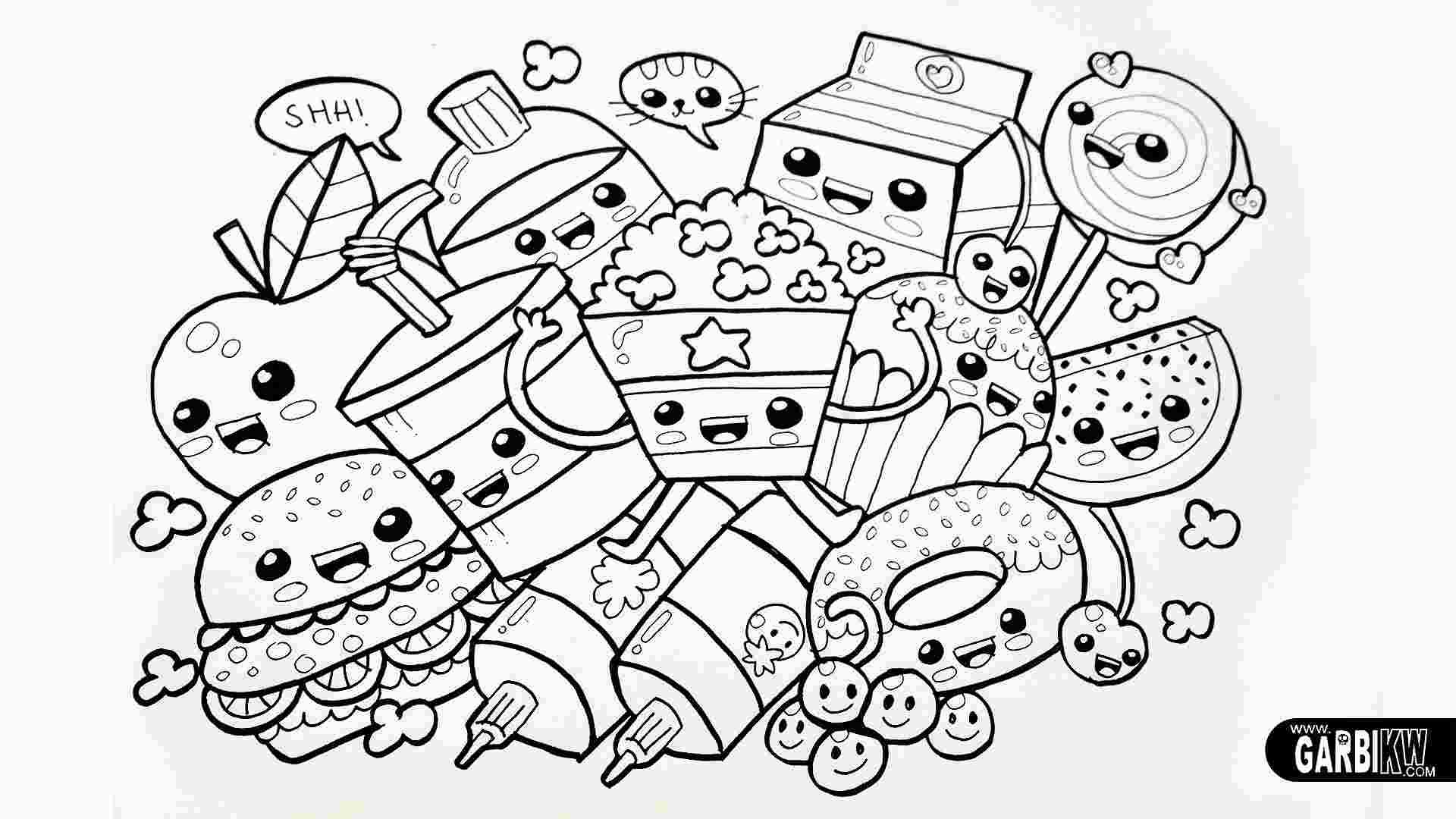 Food Easy Kawaii Coloring Pages Food Coloring Pages Animal