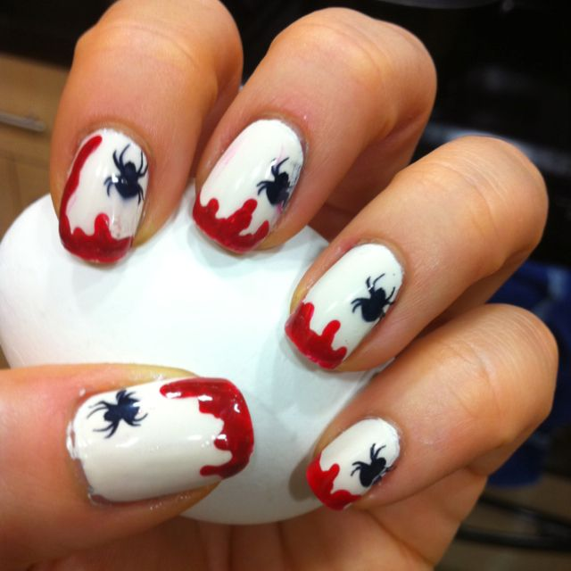 Blood And Spiders For The Coming First Of October Nail Art