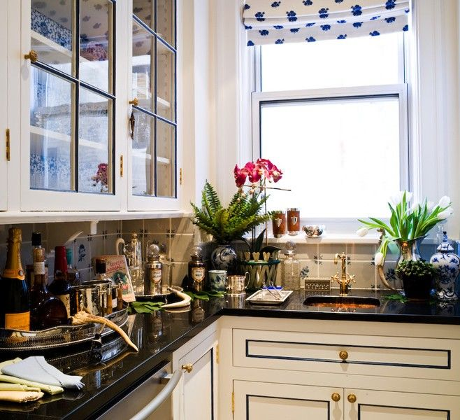 Black White And Blue Kitchen Ideas Part - 46: Kitchen With White Cabinets With Panel Edges Painted Blue, Antique Brass  Hardware And Black Countertops