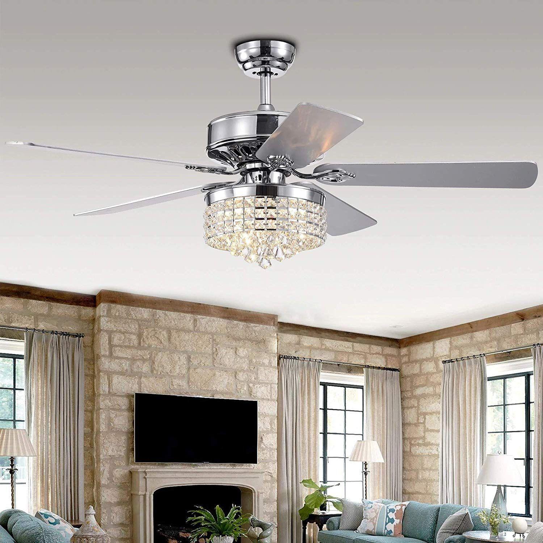 Luxurefan 52 Crystal Led Chrome Ceiling Fan Light 3 Colors