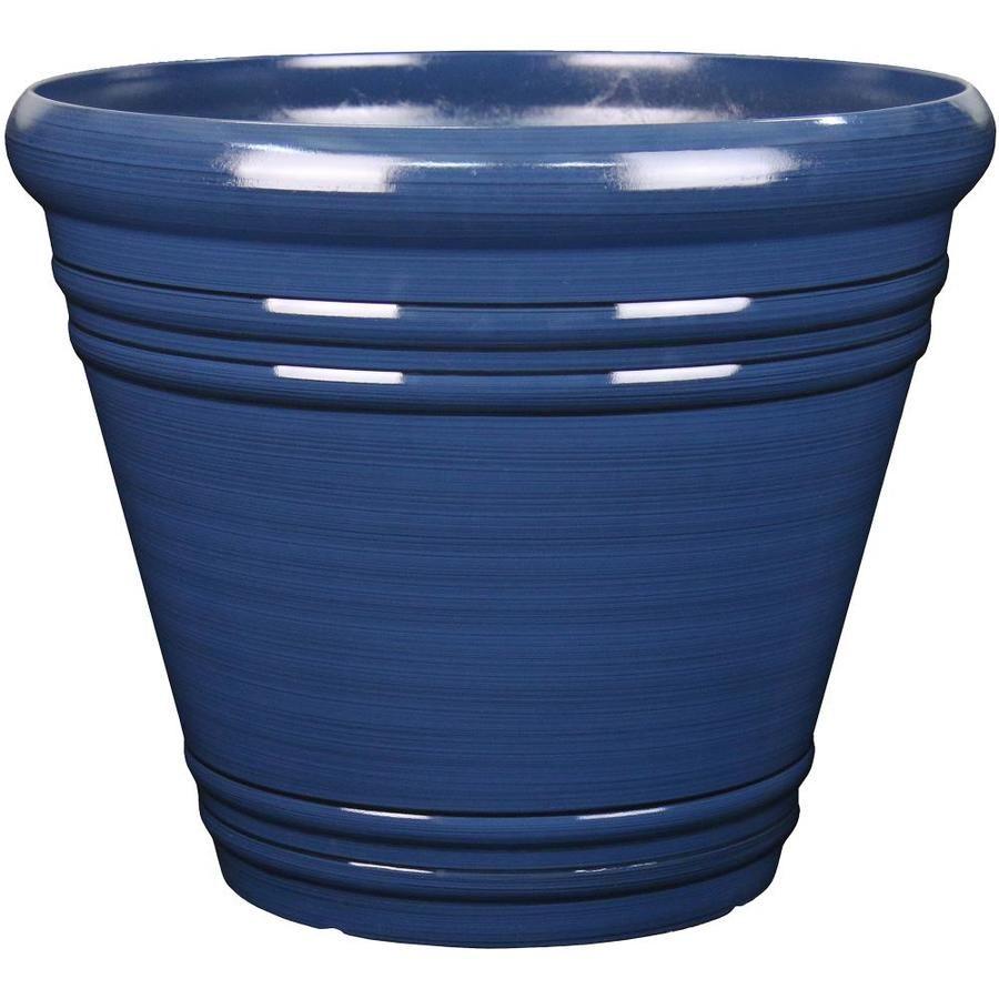 Garden Treasures 20 04 In W X 17 36 In H Navy Blue Resin Planter Resin Planters Blue Planter Planters