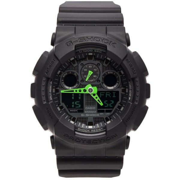 G-Shock GA-100 Neon Highlights Accessories (195 BGN) ❤ liked on Polyvore featuring jewelry, watches, green jewelry, kohl jewelry, stainless steel watches, stainless steel jewelry and water resistant watches