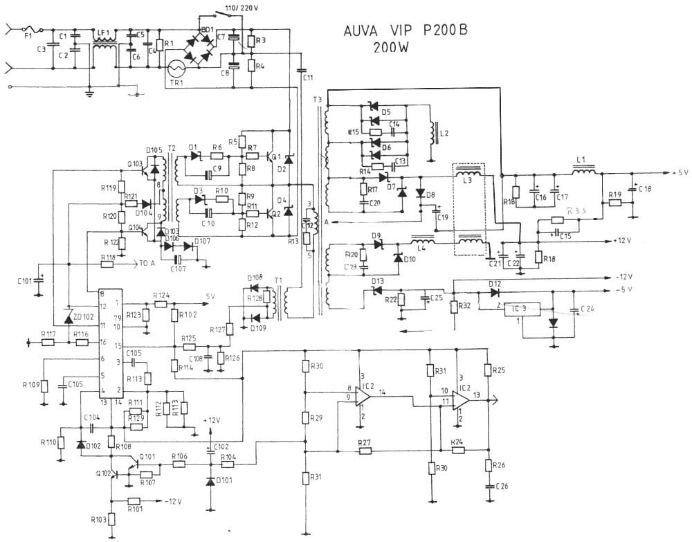 Pc Switching Power Supply Wiring Diagram - Wiring Diagram For Light ...