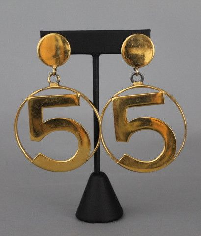 Chanel Vintage No 5 Gold Hoop Clip On Earrings Rare Collectable