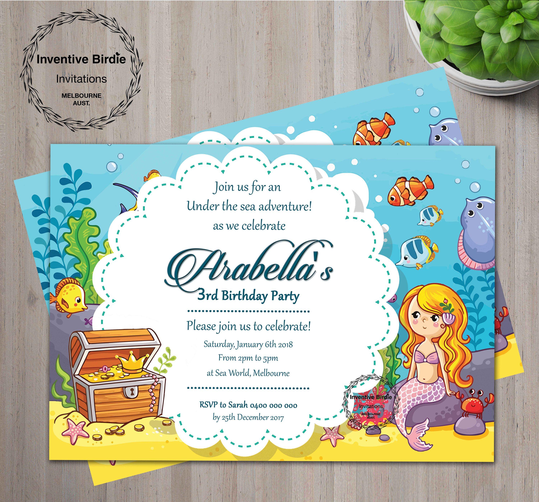 Mermaid Invitation | Mermaid Invites | Mermaid Birthday Invitation ...