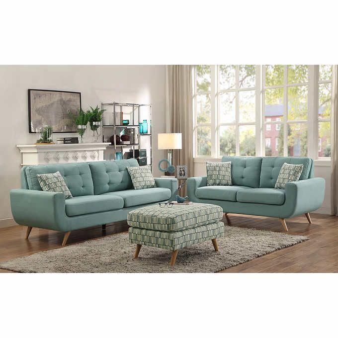 erica ii teal fabric sofa and loveseat pinterest fabric rh pinterest com Light Gray Sofa and Loveseat Light Gray Sofa and Loveseat