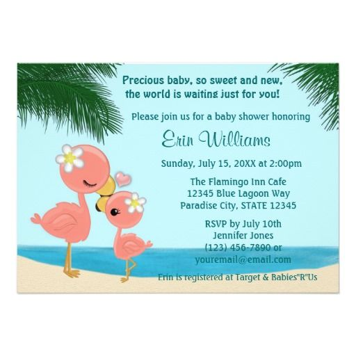 flamingo baby shower invitation mommy kiss | babies, shower, Baby shower invitations