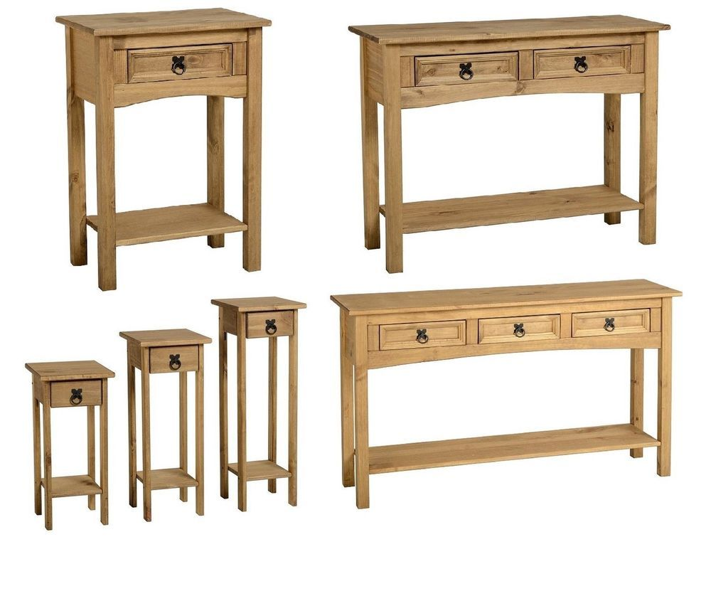 Corona Solid Mexican Pine Console Hall Tables With Storage Drawers And  Shelves